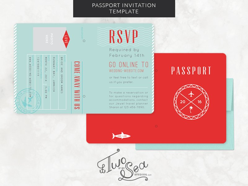Passport wedding invitation template invitation templates passport wedding invitation template invitation templates creative market stopboris Image collections