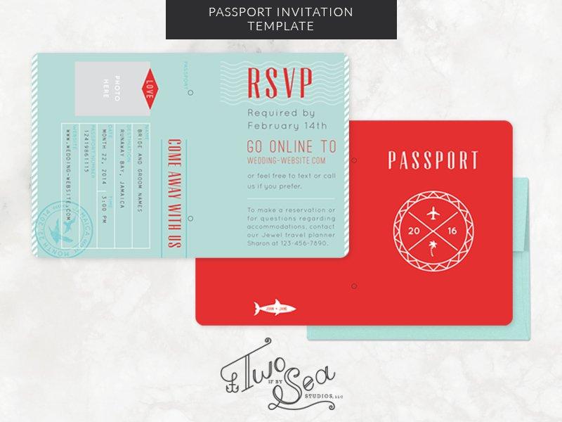 Passport Wedding Invitation Template ~ Invitation Templates ...