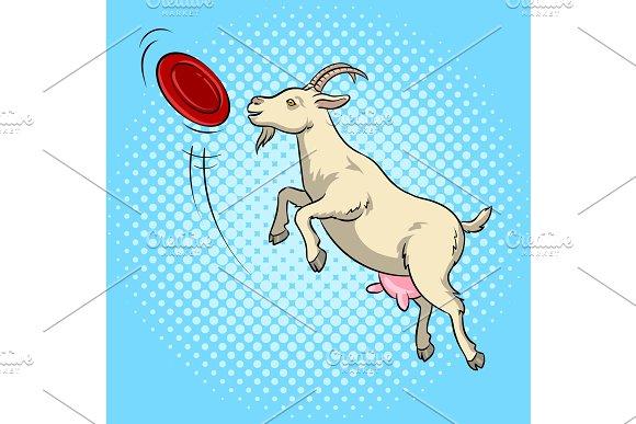 Goat Catches Frisbee Disc Pop Art Vector