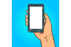 Smart phone white screen pop art vector