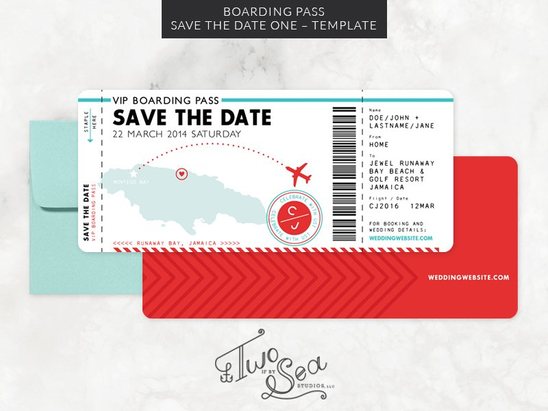 boarding pass save the date template invitation templates creative market