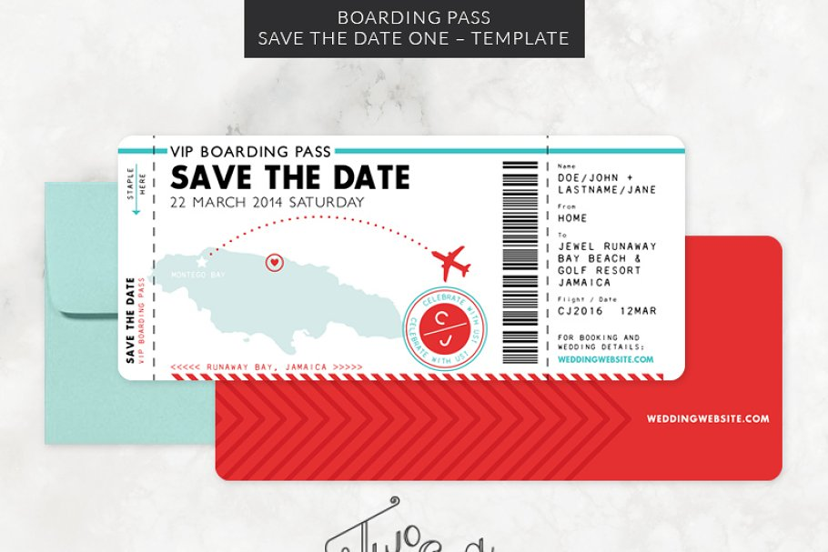 Boarding Pass Save The Date Template Creative Illustrator Templates Creative Market