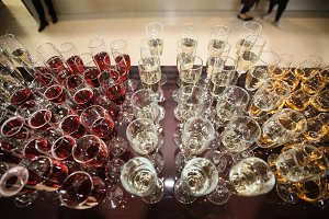 glasses on wedding reception