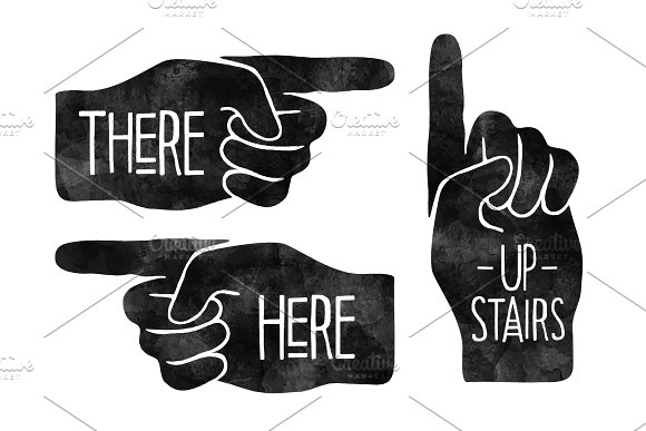 Navigation Signs Black Hand Silhouettes With Pointing Finger Vector Illustration