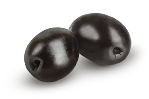 whole black olives isolated on white background macro