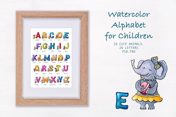 Watercolor Alphabet For Children