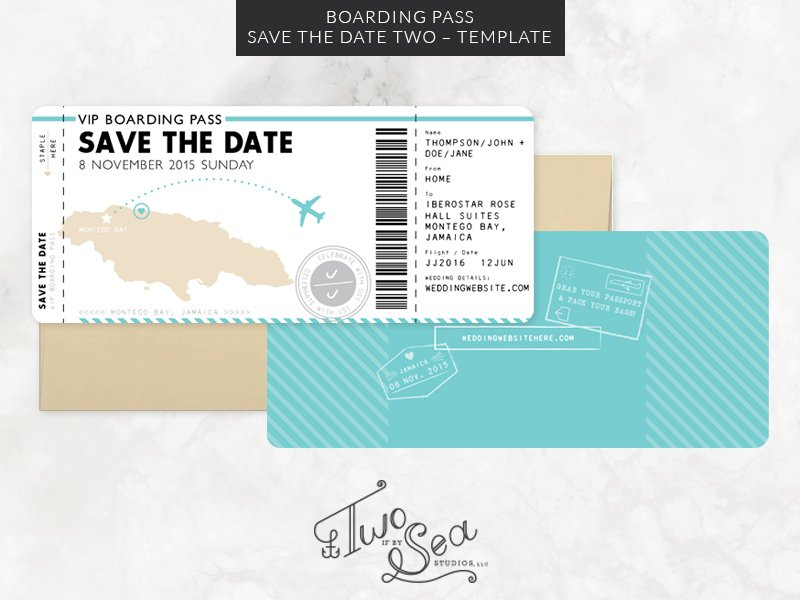Boarding Pass Save the Date Template ~ Invitation Templates ...
