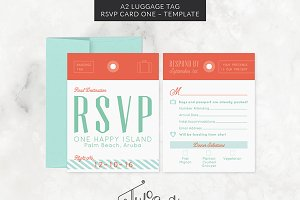 A2 Luggage Tag RSVP Card Template