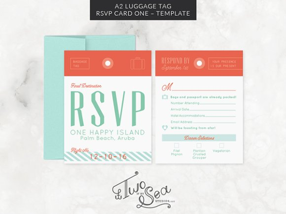 a2 luggage tag rsvp card template invitations - Rsvp Card Size