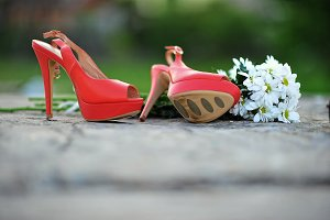 red shoes with flowers