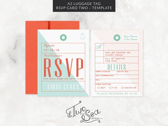 A2 Luggage Tag RSVP Card Template ~ Invitation Templates ~ Creative ...