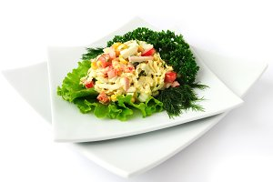 salad of corn and Chinese cabbage