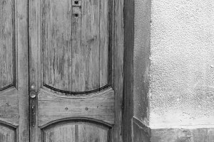 Ancient Door Detail in Black  White