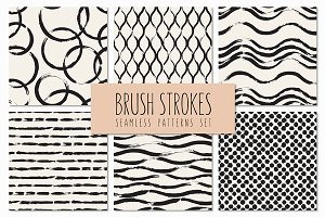 Brush Strokes. Seamless Patterns v.3
