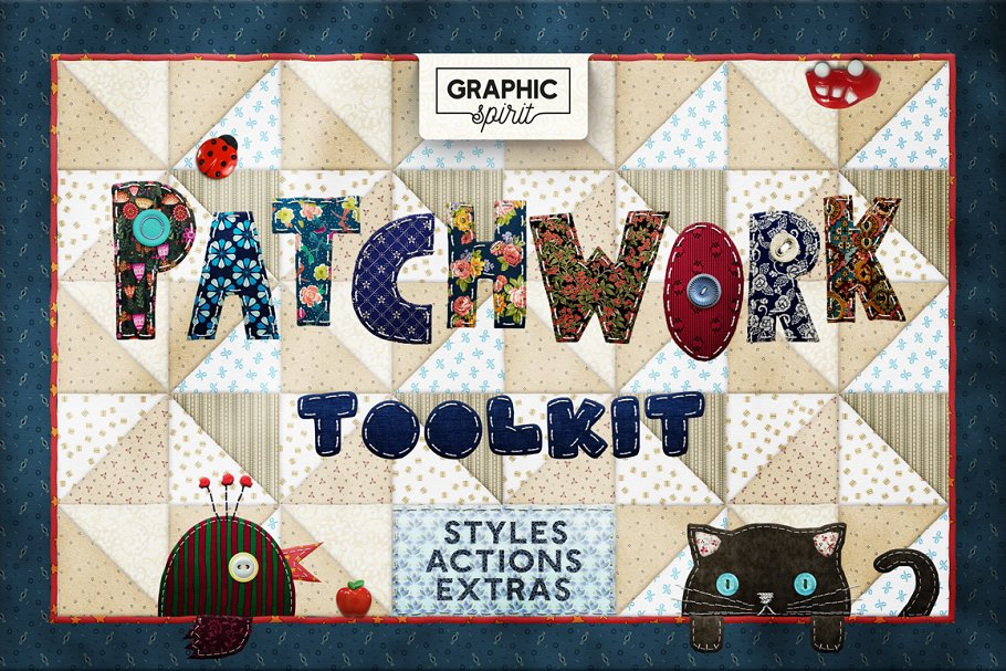 PATCHWORK Effect Photoshop TOOLKIT ~ Photoshop Add-Ons