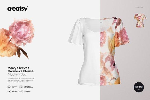 Wavy Sleeves Women's Blouse Mockup