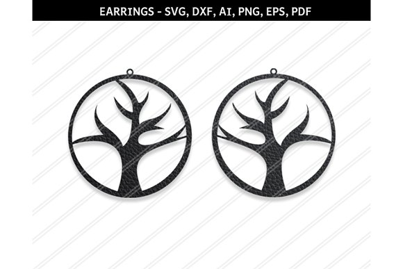 Tree Earring Svg Dxf Ai Eps Png Pdf