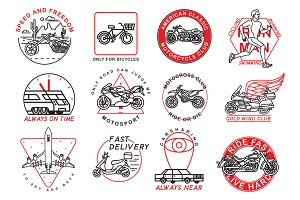 12 motorcycle and sport emblems