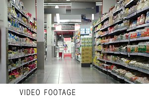 Supermarket section with products