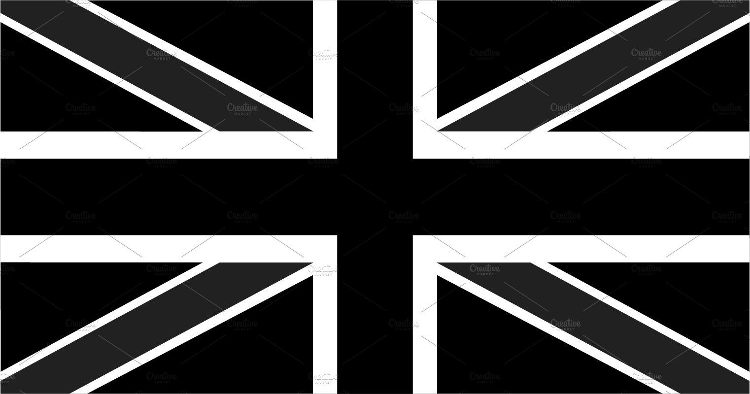 British flag black and white ~ Graphics ~ Creative Market