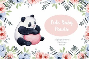 Cute baby Panda Watercolor clipart