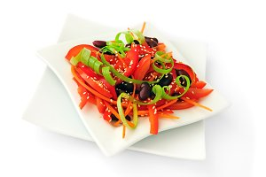 salad of tomatoes, sweet peppers