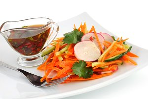 Salad with carrot, cucumber