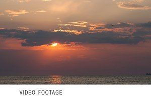 Timelapse of sunset over sea