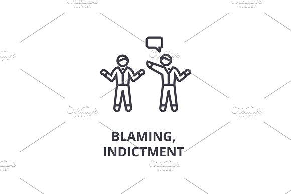 Indictment Blaming Thin Line Icon Sign Symbol Illustation Linear Concept Vector