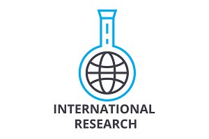 international research thin line icon, sign, symbol, illustation, linear concept, vector