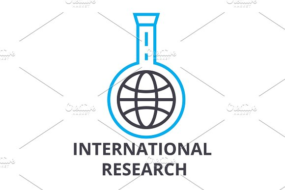 International Research Thin Line Icon Sign Symbol Illustation Linear Concept Vector