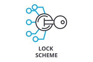 lock scheme thin line icon, sign, symbol, illustation, linear concept, vector
