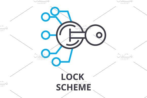 Lock Scheme Thin Line Icon Sign Symbol Illustation Linear Concept Vector