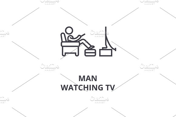 Man Watching Tv Thin Line Icon Sign Symbol Illustation Linear Concept Vector