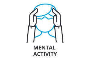 mental activity thin line icon, sign, symbol, illustation, linear concept, vector