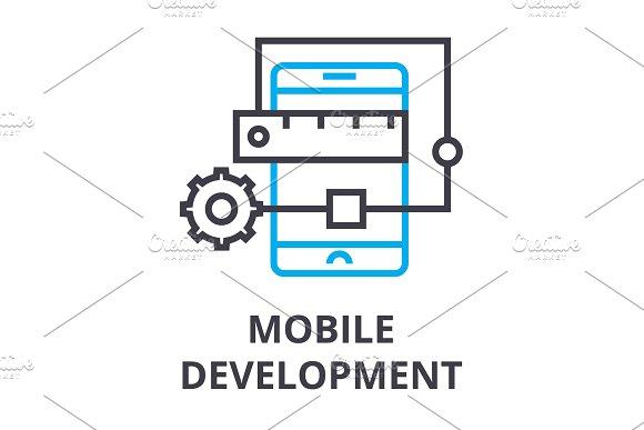 Mobile Development Thin Line Icon Sign Symbol Illustation Linear Concept Vector