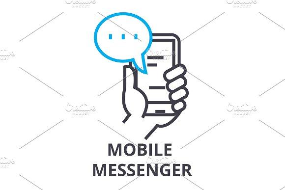Mobile Messenger Thin Line Icon Sign Symbol Illustation Linear Concept Vector