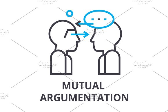 Mutual Argumentation Thin Line Icon Sign Symbol Illustation Linear Concept Vector