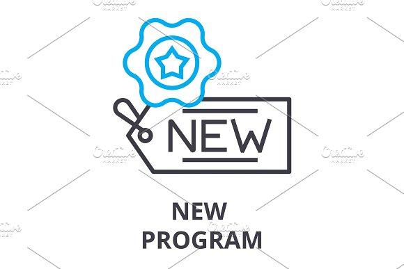 New Program Thin Line Icon Sign Symbol Illustation Linear Concept Vector