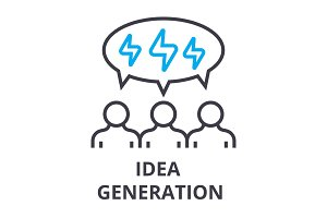 people idea generation thin line icon, sign, symbol, illustation, linear concept, vector