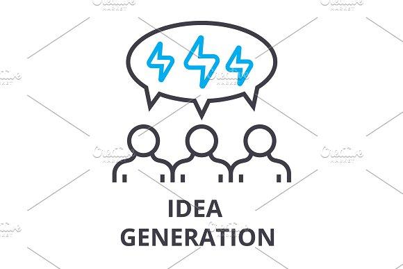 People Idea Generation Thin Line Icon Sign Symbol Illustation Linear Concept Vector