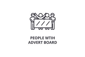 people with advert board thin line icon, sign, symbol, illustation, linear concept, vector