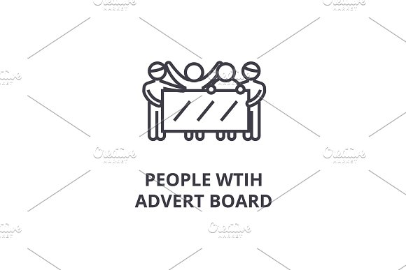 People With Advert Board Thin Line Icon Sign Symbol Illustation Linear Concept Vector