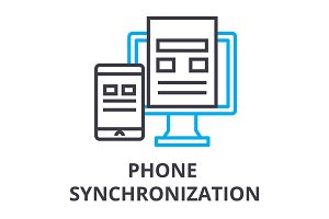 phone synchronization thin line icon, sign, symbol, illustation, linear concept, vector