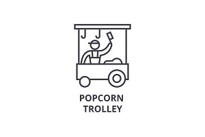 popcorn trolley thin line icon, sign, symbol, illustation, linear concept, vector