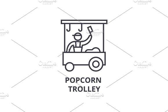 Popcorn Trolley Thin Line Icon Sign Symbol Illustation Linear Concept Vector
