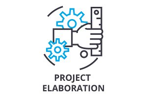 project elaboration thin line icon, sign, symbol, illustation, linear concept, vector