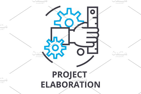 Project Elaboration Thin Line Icon Sign Symbol Illustation Linear Concept Vector