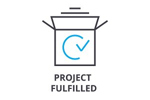 project fulfilled thin line icon, sign, symbol, illustation, linear concept, vector