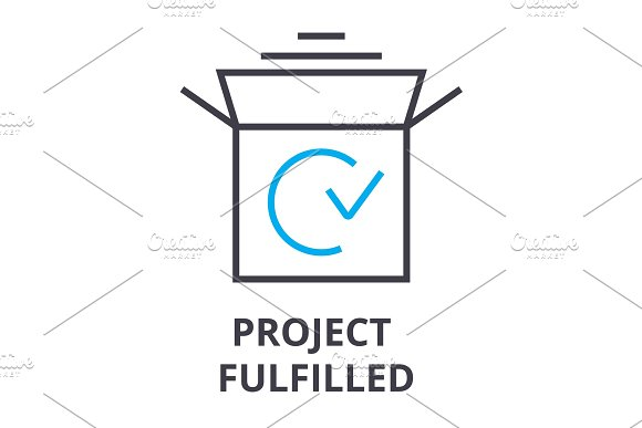 Project Fulfilled Thin Line Icon Sign Symbol Illustation Linear Concept Vector